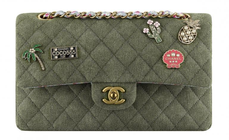 Chanel-Cuba-Khaki-Quilted-Toile-Bag